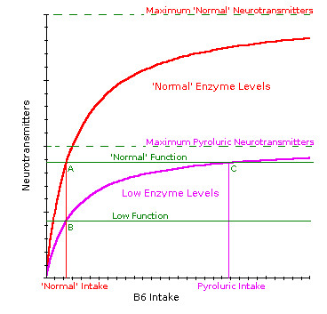 Metabolic function comparison with supplementation for normal and low enzyme levels.